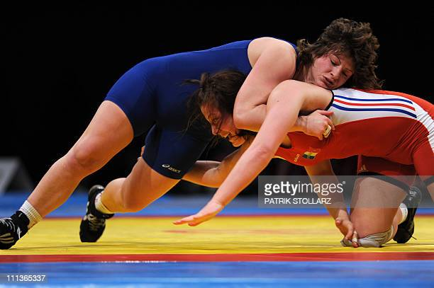 Cinthya Vanessa Vescan from France fights with Stanka Zlateva Hristova from Bulgaria in the final for the third place of the European Wrestling...