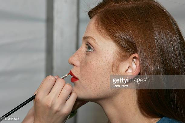 Cintia Dicker backstage at Reem Acra Spring 2006 during Olympus Fashion Week Spring 2006 Reem Acra Backstage at Bryant Park in New York City New York...