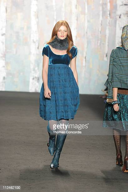 Cintia Dicker wearing Anna Sui Fall 2005 during Olympus Fashion Week Fall 2005 Anna Sui Runway at The Tent Bryant Park in New York City New York...