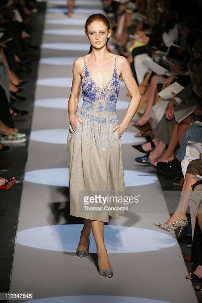 Cintia Dicker wearing Badgley Mischka Spring 2006 during Olympus Fashion Week Spring 2006 Badgley Mischka Runway at 261 Eleventh Avenue in New York...