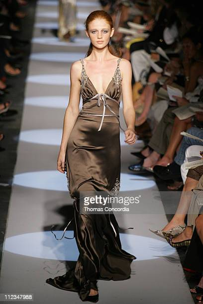 Cintia Dicker wearing Badgley Mischka Spring 2006 during Olympus Fashion Week Spring 2006 Badgley Mischka Runway at 261 Eleventh Avenue in New York...