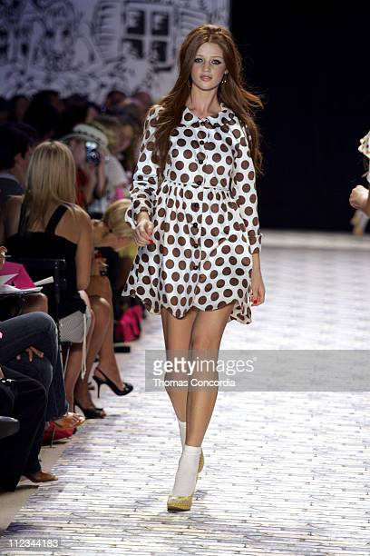 Cintia Dicker wearing Betsey Johnson Spring 2006 during Olympus Fashion Week Spring 2006 Betsey Johnson Runway at Bryant Park in New York City New...
