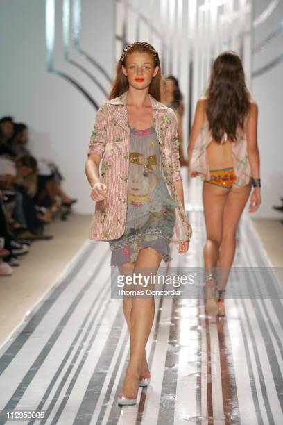 Cintia Dicker wearing Custo Barcelona Spring 2006 during Olympus Fashion Week Spring 2006 Custo Barcelona Runway at Bryant Park in New York City New...