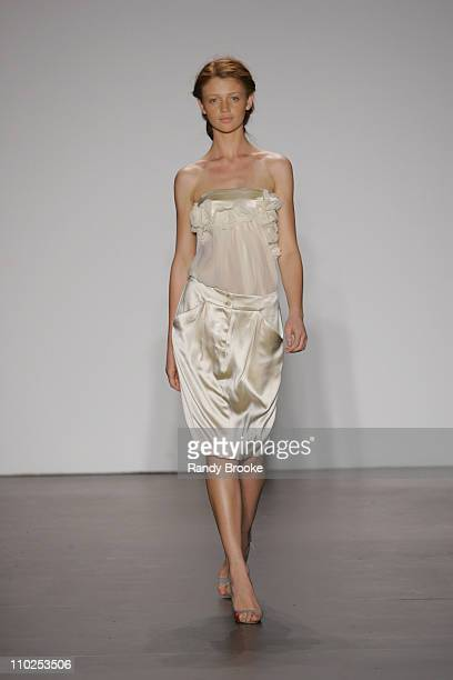 Cintia Dicker wearing Doori Spring 2006 during Olympus Fashion Week Spring 2006 Doori Runway at Bryant Park in New York City New York United States