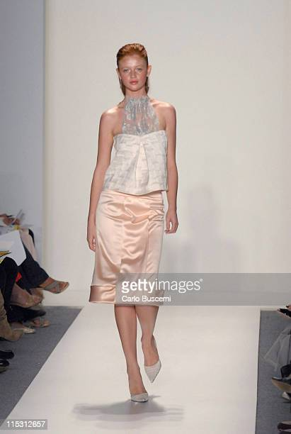 Cintia Dicker wearing Gustavo Arango Spring 2007 during Olympus Fashion Week Spring 2007 Gustavo Arango Runway at The Atelier Bryant Park in New York...
