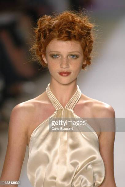 Cintia Dicker wearing Nanette Lepore Spring 2006 during Olympus Fashion Week Spring 2006 Nanette Lepore Runway at Bryant Park in New York City New...