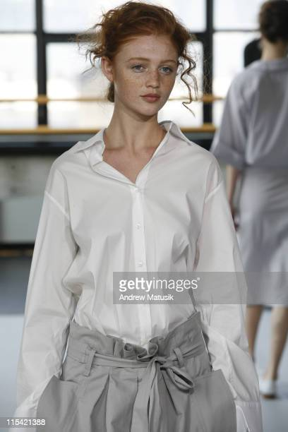 Cintia Dicker wearing Naum Spring 2007 during Olympus Fashion Week Spring 2007 Naum Runway at Baryshnikov Arts Center in New York City New York...