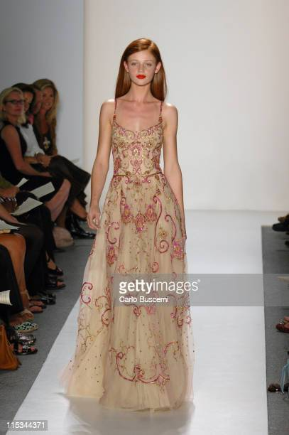 Cintia Dicker wearing Reem Acra Spring 2006 during Olympus Fashion Week Spring 2006 Reem Acra Runway at Bryant Park in New York City New York United...