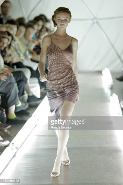 Cintia Dicker wearing ThreeAsFour Spring 2007 during Olympus Fashion Week Spring 2007 ThreeAsFour Runway at The Dome 37 Grant Street in New York City...