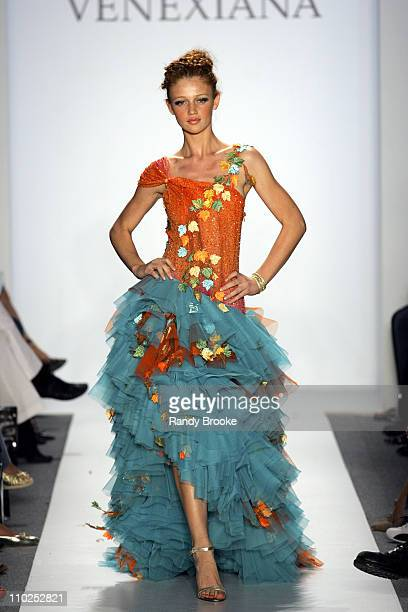 Cintia Dicker wearing Venexiana Spring 2006 during Olympus Fashion Week Spring 2006 Venexiana Runway at Bryant Park in New York City New York United...