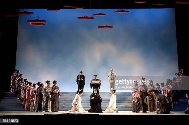 CioCioSan and Pinkerton prepare to sign a marriage contract in the New York City Opera's production of 'Madama Butterfly' May 21 2005 in Tokyo Japan...