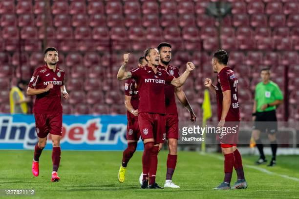 Ciprian Deac of CFR Cluj celebrating after scoring 1-0 during the 9th game in the play-off of Romania League 1 between CFR Cluj and FC Botosani, at...