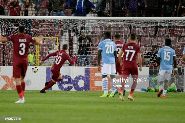 Ciprian Deac of CFR Cluj scores a first goal a penalty during the UEFA Europa League group E match between CFR Cluj and Lazio Roma at...
