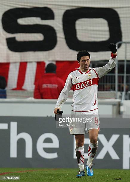 Ciprian Marica of Stuttgart celebrates his team's fifth goal during the UEFA Europa League group H match between VfB Stuttgart and Odense Boldklub at...