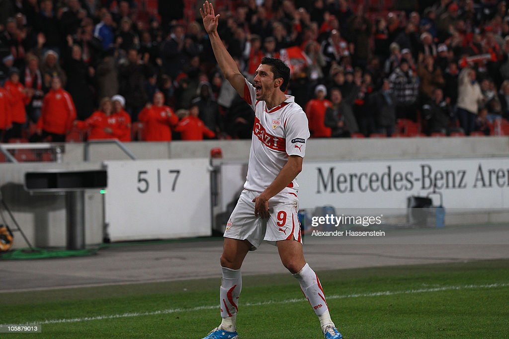 Ciprian Marica of Stuttgart celebrates scoring his first team goal during the UEFA Europa League group H match between VfB Stuttgart and Getafe CF at Mercedes-Benz Arena on October 21, 2010 in Stuttgart, Germany.