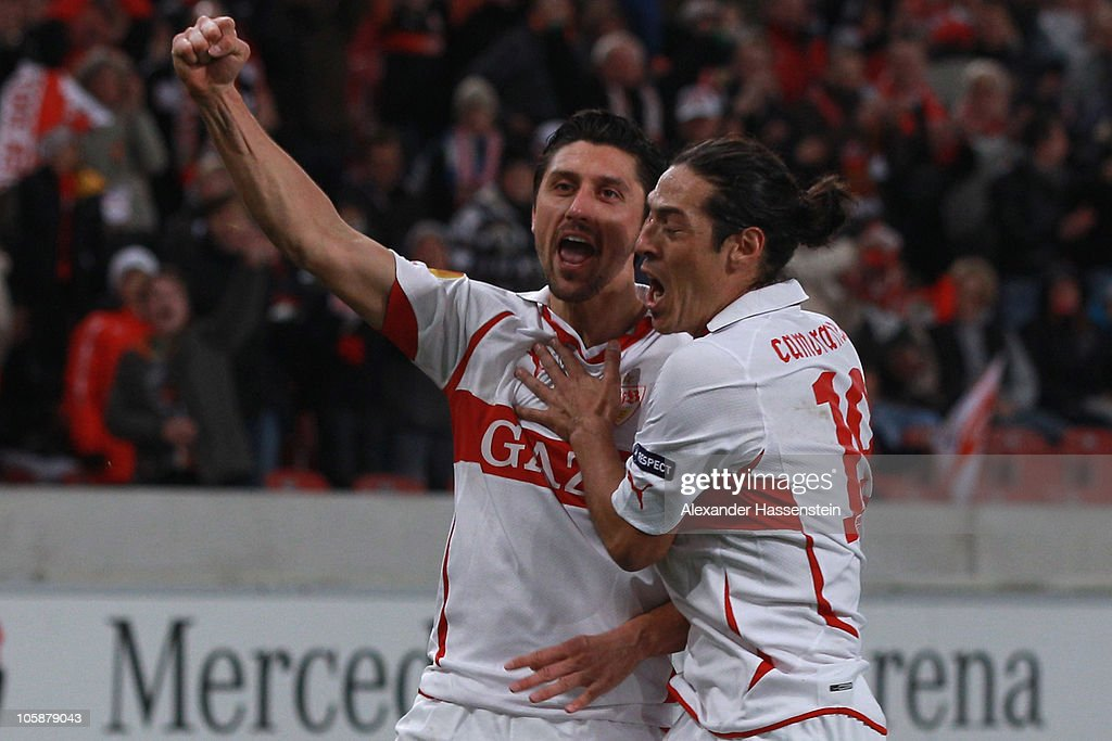 Ciprian Marica (L) of Stuttgart celebrates scoring his first team goal with his team mate Mauro Camoranesi during the UEFA Europa League group H match between VfB Stuttgart and Getafe CF at Mercedes-Benz Arena on October 21, 2010 in Stuttgart, Germany.