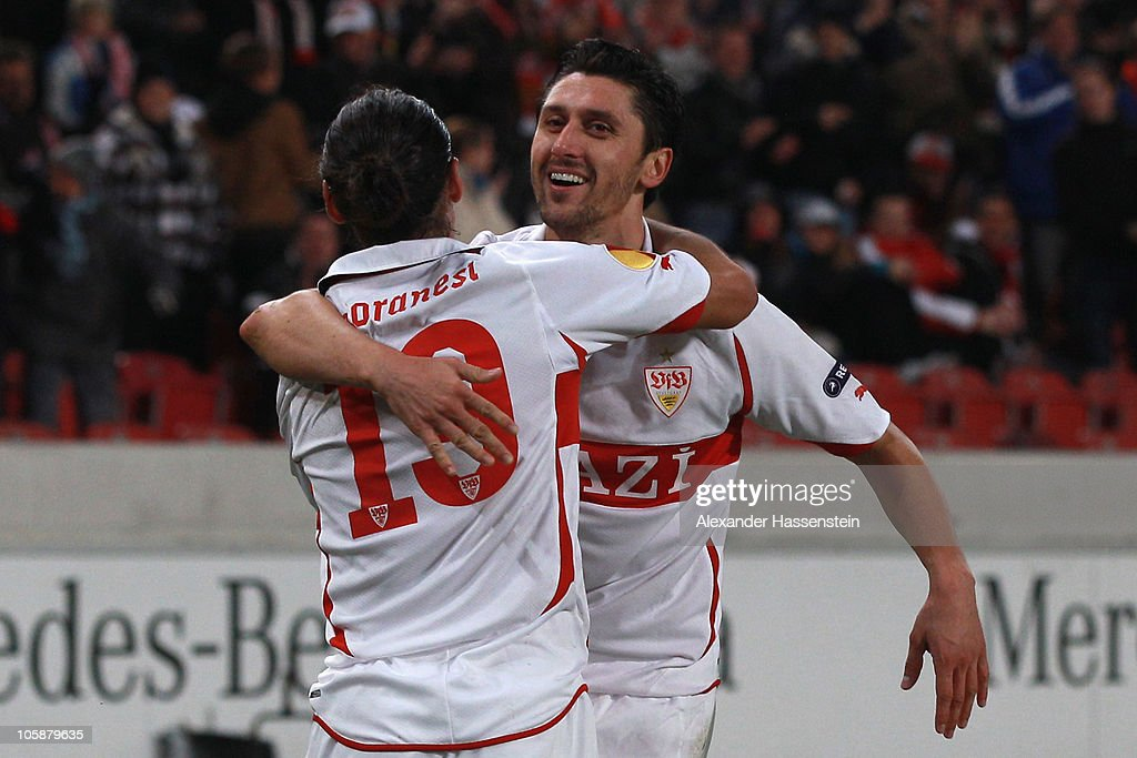 Ciprian Marica (R) of Stuttgart celebrates scoring his first team goal with his team mate Mauro Camoranesi during the UEFA Europa League group H match between VfB Stuttgart and Getafe CF at Mercedes-Benz Arena on October 21, 2010 in Stuttgart, Germany.