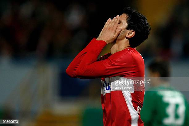 Ciprian Marica of Stuttgart reacts during the DFB Cup match between SpVgg Greuther Fuerth and VfB Stuttgart at the Playmobil stadium on October 27...