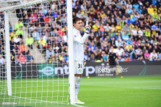 Ciprian Tatarusanu of Nantes during the Ligue 1 match between FC Nantes and Olympique Marseille at Stade de la Beaujoire on August 12 2017 in Nantes
