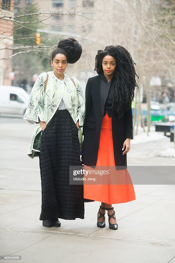 Cipriana and TK Quann at Streets of Manhattan on February 12, 2015 in New York City. Cipriana (left) wears Honor NYC with ASOS, TK (right) wears Honor NYC with Jeffrey Campbell shoes