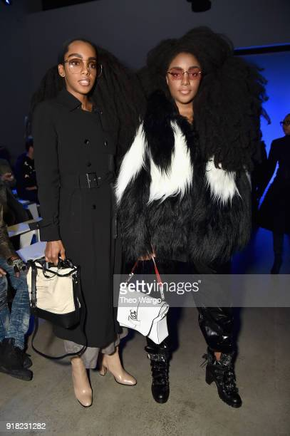 Cipriana Quann and TK Quann attend the Laquan Smith front row during New York Fashion Week The Shows at Gallery I at Spring Studios on February 14...