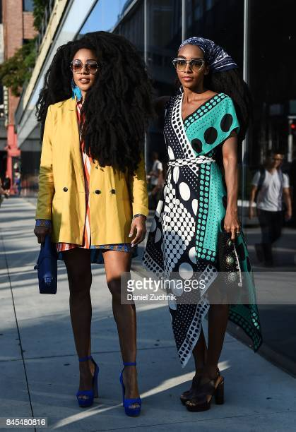 Cipriana Quann and TK Wonder are seen outside the DVF show during New York Fashion Week Women's S/S 2018 on September 10 2017 in New York City