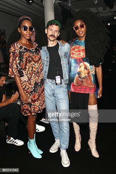 Cipriana Quann, designer Adam Selman and TK Quann attend the Gentle Monster fashion show during MADE Fashion Week September 2016 at Milk Studios on...