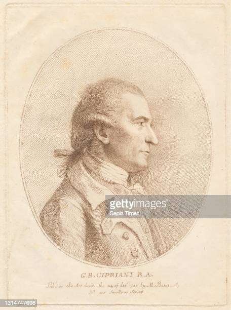 Cipriani, R.A., Francesco Bartolozzi RA, 1728–1815, Italian, active in Britain , after unknown artist Line engraving.