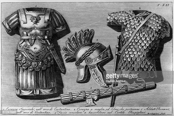 Circa 100 AD A depiction of an Imperial cuirass a mail cuirass with helmet as worn by the Roman soldiers and a fasces a bundle of rods bound together...