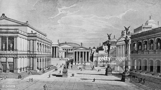Circa 100 AD A reconstruction of the north and east sides of the ancient Roman Forum as seen from the north corner of the Rostra Original Artwork An...