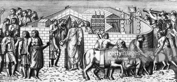 Circa 100 AD A religious procession at Trajan's Pillar in ancient Rome