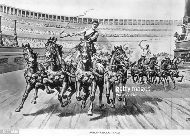 Circa 100 AD Contestants urge their horses on as they career around the arena during a Roman chariot race Original Artwork Illustration by JMacfarlane