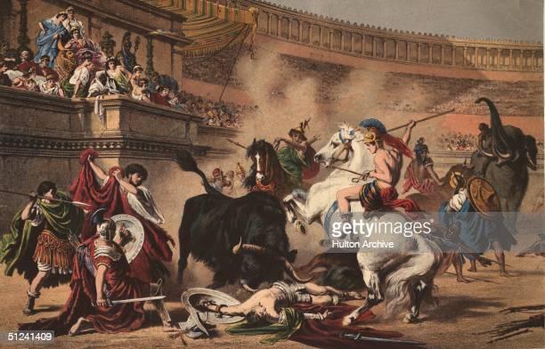 Circa 100 BC Gladiators riding elephants and horses battle a bull in a Roman amphitheatre Original Artwork A print by Professor Wagner