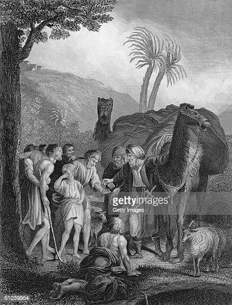 Circa 1000 BC Jacob's favourite son Joseph being sold to a passing caravan of Ishmaelites by his brothers in a biblical scene from Genesis XXXVII28
