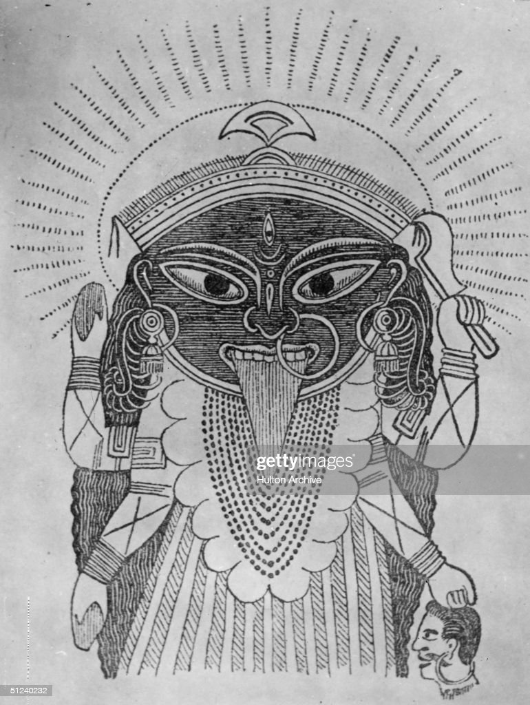 Circa 1000 Drawing Of A Four Armed Kali The Goddess Of
