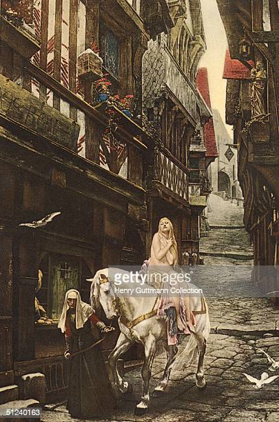 Circa 1055 Lady Godiva wife of Leofric Earl of Mercia riding naked on horseback being led through the streets of Coventry painted by J Fehvre and...