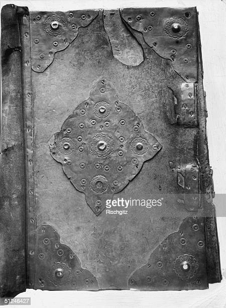 Circa 1086 The wood and metalwork cover of the Domesday Book which was written as a report of a survey of land and wealth in 1086