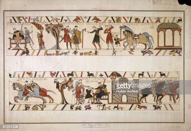 Circa 1090 Discussing tactics in the Norman conquest of England depicted in the Bayeux tapestry Original Artwork The Tapestry of Bayeux Plate 3