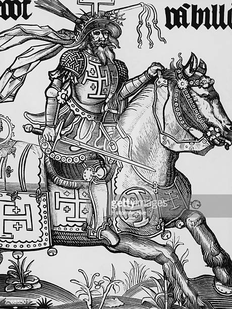 Godfrey of Bouillon , Duke of Lower Lorraine, a knight in the First Crusade who ruled Jerusalem from 1099 to 1100. He is crowned with Instruments of...