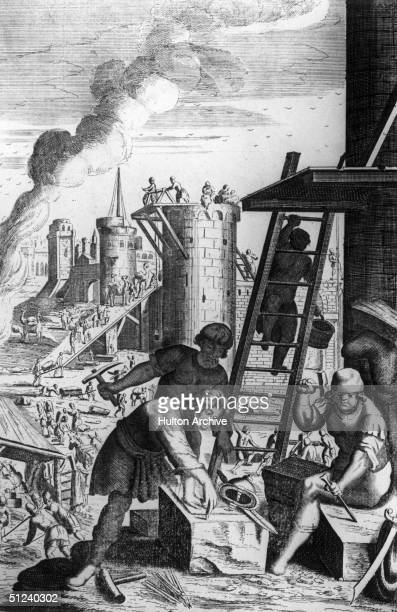 Circa 1100, Masons rebuilding the city of Jerusalem, after it was taken by French Crusader Godfrey of Bouillon.