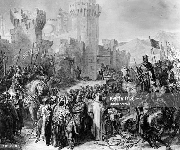 Circa 1190 A scene from the Third Crusade depicting the surrender of Ptolemais or Acre to the armies of King Richard I of England and Philippe...
