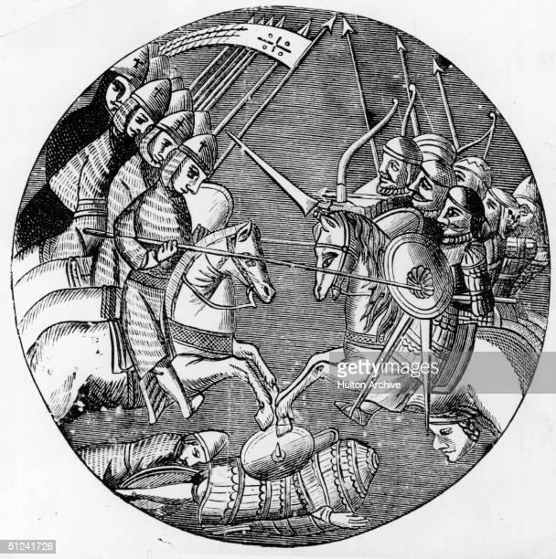 Circa 1200, A battle between the Crusaders and Muslims.
