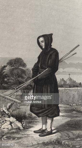 Circa 1200, A lay brother of the Cistercian order tends a garden in his religious robes. The Cistercians were founded in 1098 in France and...