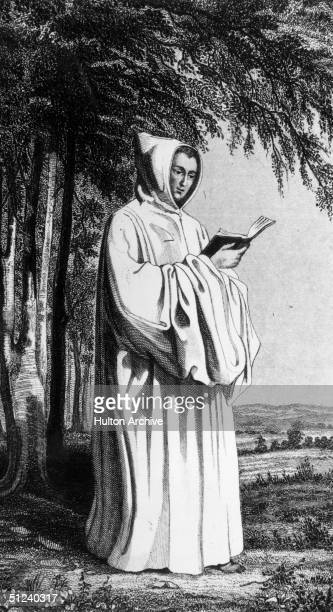 Circa 1200 A member of the Cistercian order wearing a white hooded habit and perusing a book The Cistercians were founded in 1098 in France and...