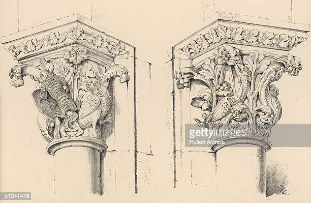 Illustration of two ornately carved Corinthian column capitals from the north porch of Chartres Cathedral depicting knights dragons and curled...
