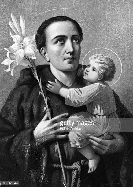 Circa 1230 St Antony of Padua looks skyward a child and a flowert in his hands At first an Augustinian monk he then became a member of the Franciscan...