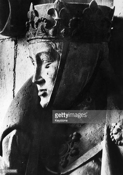 Circa 1250 An unidentified figure one of a group of twelve which line the west choir of the Cathedral of St Peter and St Paul in Naumburg They are...