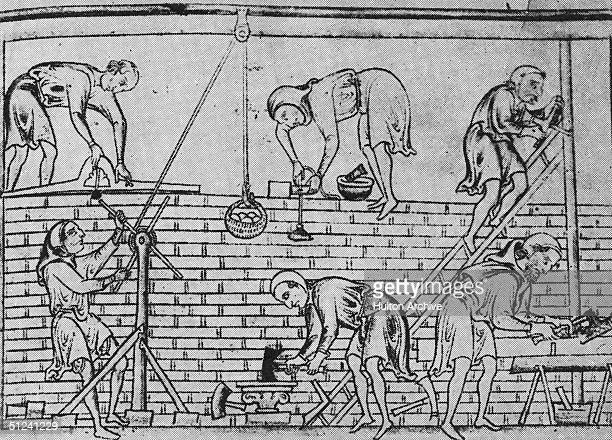 Circa 1250 Workmen using a line and plummet level a windlass and basket a plumbline and mortar bowl to construct a wall At the bottom middle a mason...