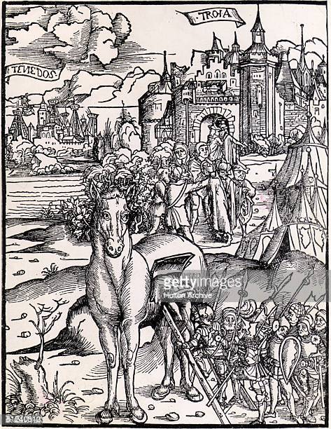 Circa 1260 BC The wooden Trojan Horse used during the siege of Troy with Greeks climbing into the horse Original Publication From Sebastian Braut's...