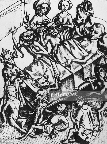 Circa 1300 A man on his deathbed surrounded by demons one of whom holds a list of his sins Original Publication From an original print by the Master...